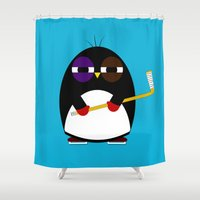 hockey Shower Curtains featuring Hockey penguin by Jaxxx
