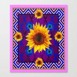 Western  Purple Geometric Yellow Sunflowers Pattern Art  Canvas Print