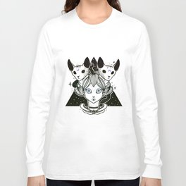 Weird Girl With Two Sphynx Cats And Snake On Triangle Long Sleeve T-shirt
