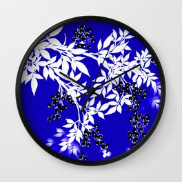 LEAF AND TREE BRANCHES BLUE AND WHITE BLACK BERRIES Wall Clock