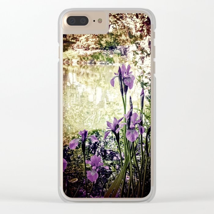 Purple Irises Clear iPhone Case
