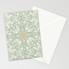 Soft Sage & Cream hand drawn floral pattern Stationery Cards