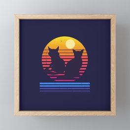 Cats Retro Synthwave Sunset Together Forever Framed Mini Art Print