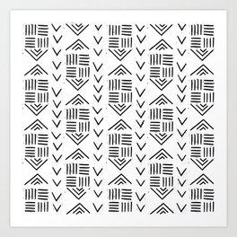 mudcloth 7 minimal textured black and white pattern home decor minimalist Art Print