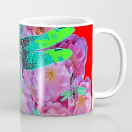 EMERALD DRAGONFLIES  PINK ROSES RED COLOR Coffee Mug