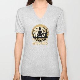 Namaste Witches Yoga Gift For Halloween Unisex V-Neck