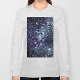 The Eagle Nebula / Pillars of Creation Midnight Indigo Teal Blue Long Sleeve T-shirt