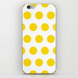 Medium Yellow Dots on White iPhone Skin