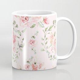 Rose Blush Watercolor Flower Pattern Coffee Mug