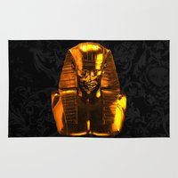 versace Area & Throw Rugs featuring Gangsta Pharaoh II Gold & Versace by KARAM