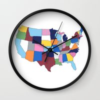 usa Wall Clocks featuring USA by Project M