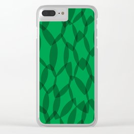Overlapping Leaves - Dark Green Clear iPhone Case