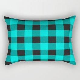 Teal and black plaid Rectangular Pillow