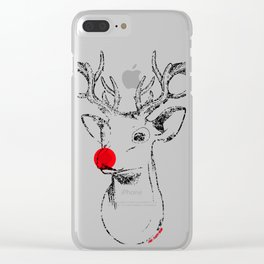 Rudolph and his red nose Clear iPhone Case