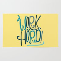 work hard Area & Throw Rugs featuring Work Hard! by Chelsea Herrick