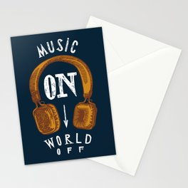 Music On - World Off Stationery Cards