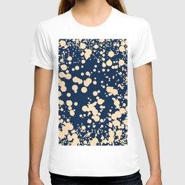 Modern stylish navy blue ivory confetti pattern T-shirt
