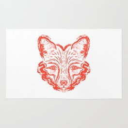 Muzzle foxes. Fox with sideburns, sketch strokes. Rug