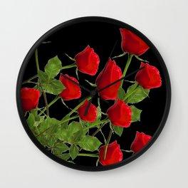 RED LONG STEM ROSES BLACK  BOTANICAL ART Wall Clock