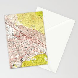 Vintage Map of Burbank California (1953) Stationery Cards