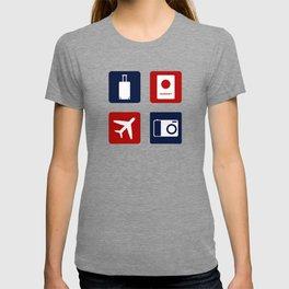 Travel Icons in RWB T-shirt