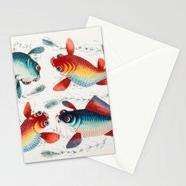 4 Crazy Fish Illustration Stationery Cards