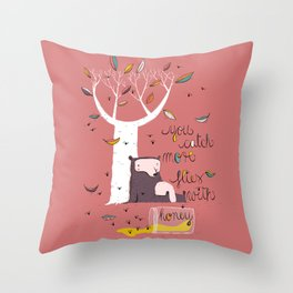 You catch more flies with honey Throw Pillow