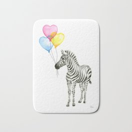 Zebra Watercolor With Heart Shaped Balloons Bath Mat