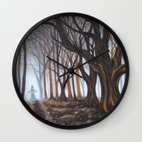 forrest Wall Clocks featuring Dark Forrest by Annette Jimerson