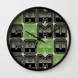 Camouflage Typography  Wall Clock