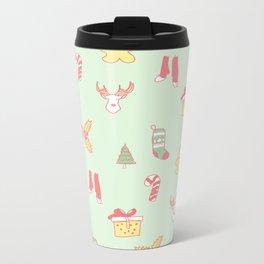 Pastel Bright Christmas Metal Travel Mug