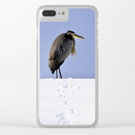 Great Blue Heron in the Snow Clear iPhone Case