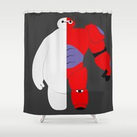 baymax Shower Curtains featuring BayMax by Brieana