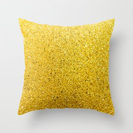 Sunshine Gold Glittery Sparkle Throw Pillow