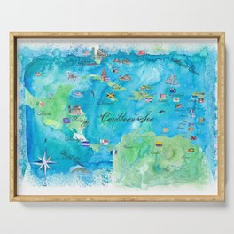 Caribbean Cruise Travel Poster Map Antilles West Indies Cuba Florida Serving Tray