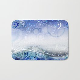 Abstract sheet music design background with musical notes Bath Mat