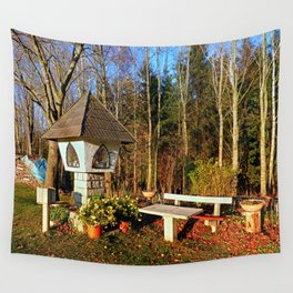 Wayside shrine and a bench | architectural photography Wall Tapestry