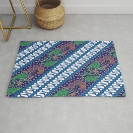 Indonesian combination batik with dominant blue color Rug
