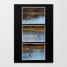 Gone Fishing Triptych Black Canvas Print
