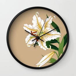 Vintage Japanese Lilly. White, Green and Beige Wall Clock