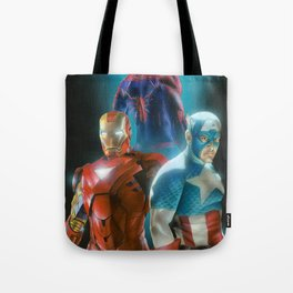 Civil War featuring Captain America, Spiderman, & Ironman Tote Bag