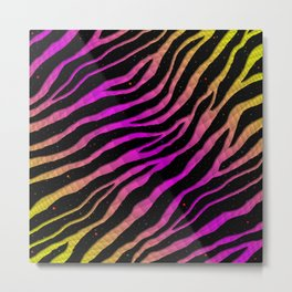 Ripped SpaceTime Stripes - Yellow/Pink Metal Print