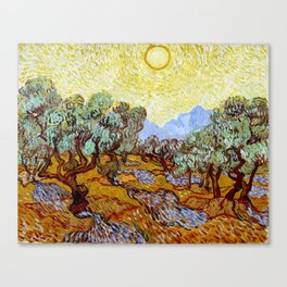 """Vincent Van Gogh """"Olive Trees With Yellow Sky And Sun"""" Canvas Print"""