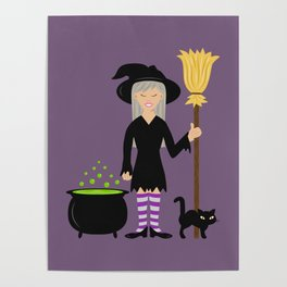 Cute Witch Girl And A Black Cat Halloween Design Poster