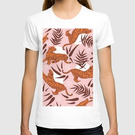 Vibrant Wilderness / Tigers on Pink T-shirt