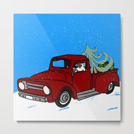 Pit Bull In Old Red Truck With Whimsical Christmas Tree Metal Print