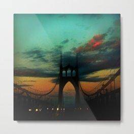 Bridge to Portland - St. Johns - On a Warm October Evening Metal Print