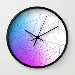 Minimal Thin Line with Blends of Cyan Magenta and White Wall Clock