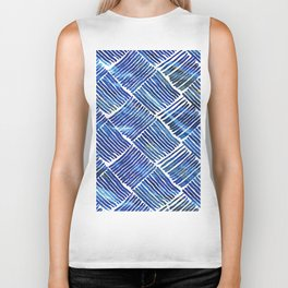Blue Watercolor Streaks Biker Tank