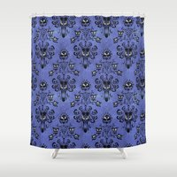 haunted mansion Shower Curtains featuring Haunted Mansion  by Katikut